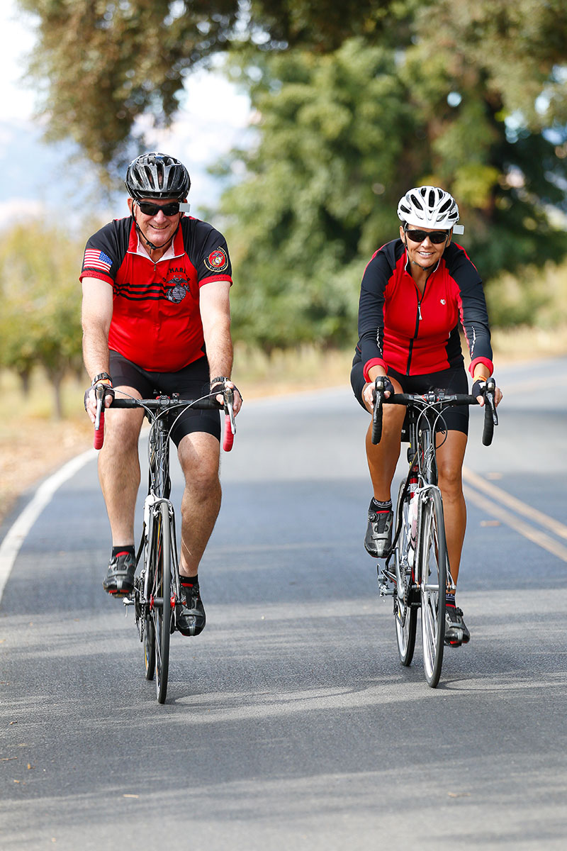 A couple riding bicycles